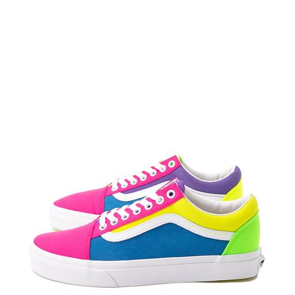 Main view of Vans Old Skool Neon Color-Block Skate Shoe - Pink / Purple / Yellow