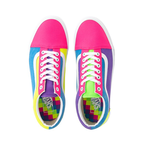 alternate image alternate view Vans Old Skool Neon Color-Block Skate Shoe - Pink / Purple / YellowALT2