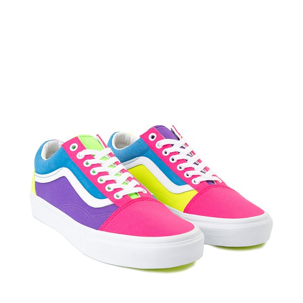 alternate image alternate view Vans Old Skool Neon Color-Block Skate Shoe - Pink / Purple / YellowALT5
