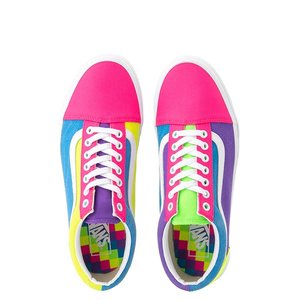 alternate image alternate view Vans Old Skool Neon Color-Block Skate Shoe - Pink / Purple / YellowALT7