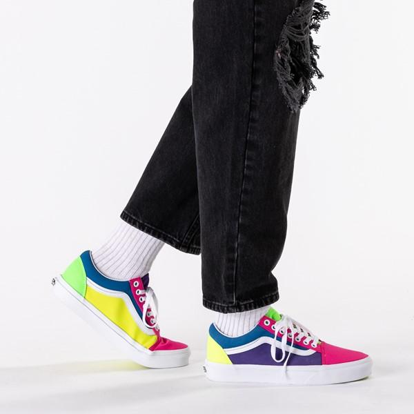 alternate image alternate view Vans Old Skool Neon Color-Block Skate Shoe - Pink / Purple / YellowB-LIFESTYLE1