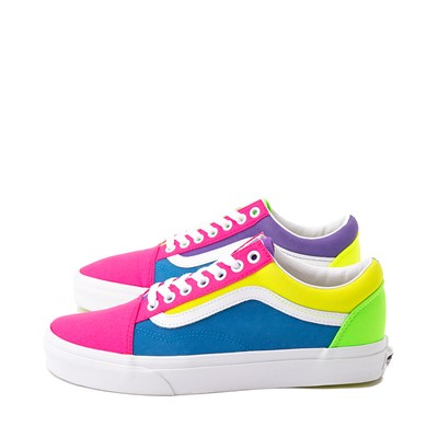 Alternate view of Vans Old Skool Neon Color-Block Skate Shoe - Pink / Purple / Yellow