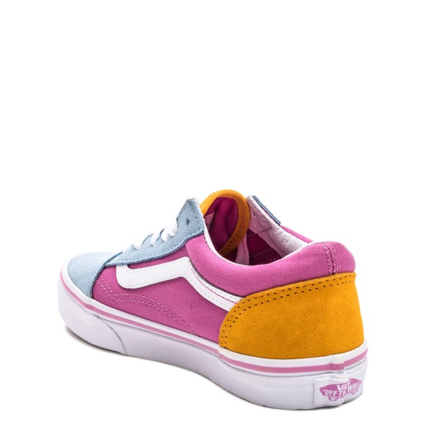 alternate image alternate view Vans Old Skool Color-Block Skate Shoe - Little Kid - Fuchsia / Blue / YellowALT2