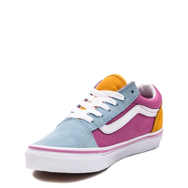 alternate image alternate view Vans Old Skool Color-Block Skate Shoe - Little Kid - Fuchsia / Blue / YellowALT3