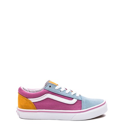 Main view of Vans Old Skool Color-Block Skate Shoe - Little Kid - Fuchsia / Blue / Yellow
