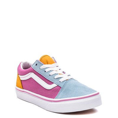 Alternate view of Vans Old Skool Color-Block Skate Shoe - Little Kid - Fuchsia / Blue / Yellow