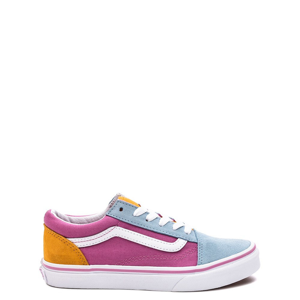 Vans Old Skool Color-Block Skate Shoe - Little Kid - Fuchsia / Blue / Yellow