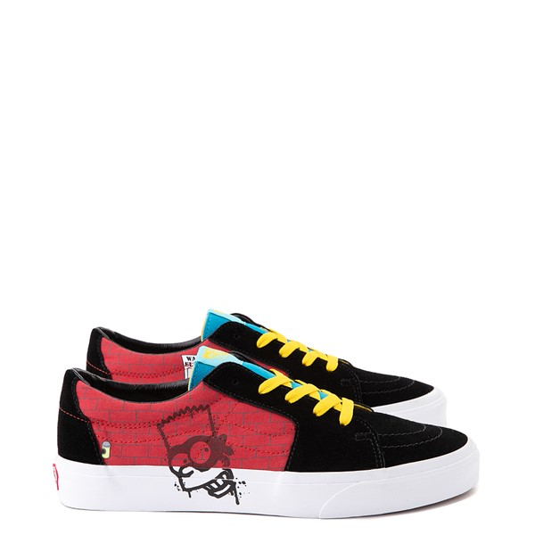 Main view of Vans x The Simpsons Sk8 Low El Barto Skate Shoe - Black / Red