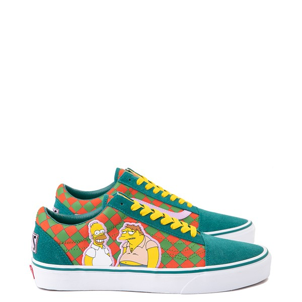 Vans x The Simpsons Old Skool Moe's Tavern Checkerboard Skate Shoe - Green / Orange