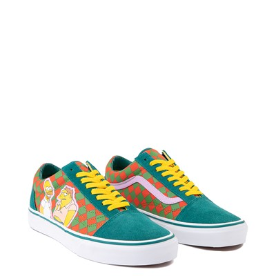 Alternate view of Vans x The Simpsons Old Skool Moe's Tavern Checkerboard Skate Shoe - Green / Orange