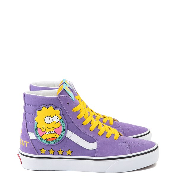 Main view of Vans x The Simpsons Sk8 Hi Lisa For President Skate Shoe - Purple