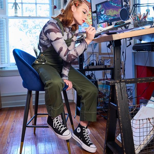 alternate image alternate view Womens Converse Chuck Taylor All Star Lift Hi Sneaker - Black / WhiteALT1B