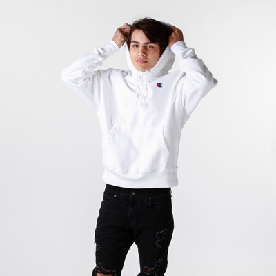 Alternate view of Mens Champion Reverse Weave Hoodie - White