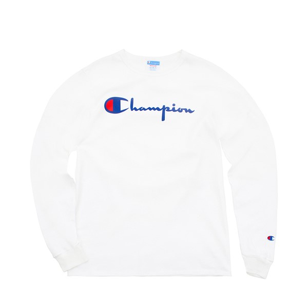 Mens Champion Heritage Long Sleeve Tee - White