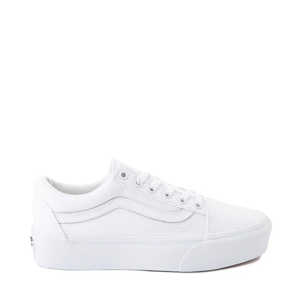 Main view of Vans Old Skool Platform Skate Shoe - White Monochrome