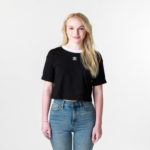 Main view of Womens adidas Trefoil Cropped Tee - Black