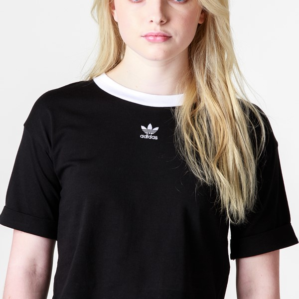 alternate image alternate view Womens adidas Trefoil Cropped Tee - BlackALT2