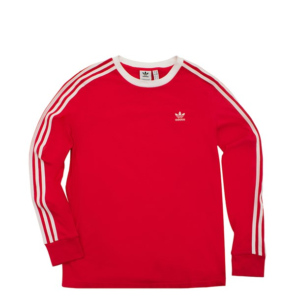 Main view of Womens adidas Three Stripe Long Sleeve 3 Stripe Tee - Red / White