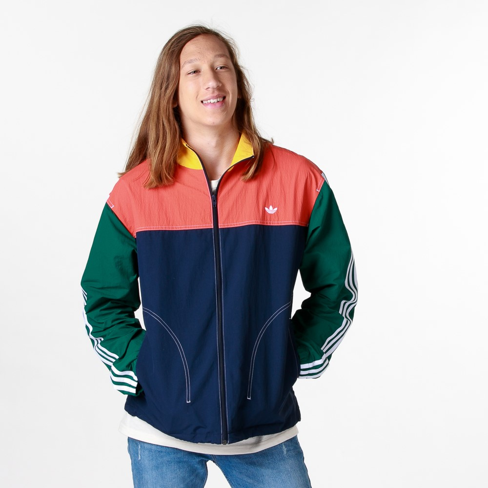 Mens adidas Summer B-Ball Windbreaker Jacket - Collegiate Navy / Glory Amber