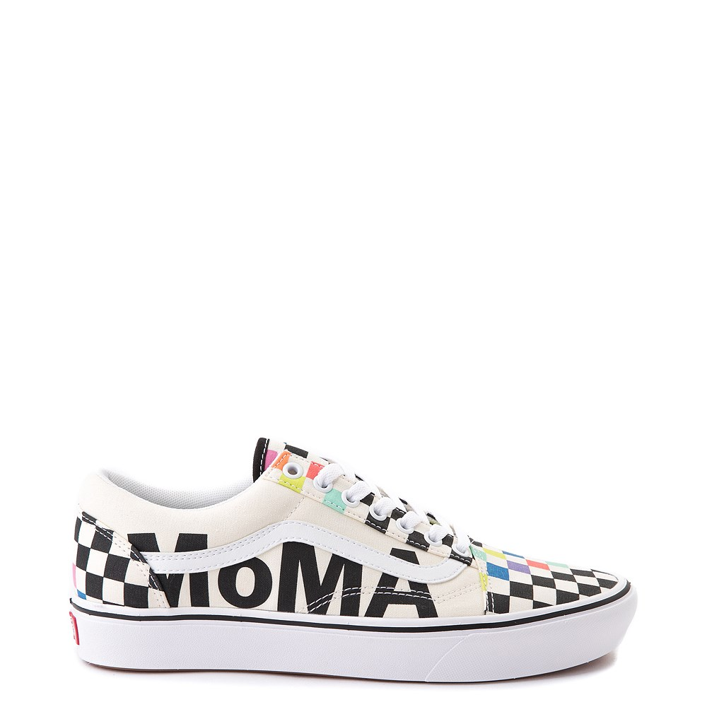 Vans x MoMA Old Skool ComfyCush® Checkerboard Skate Shoe - White / Rainbow