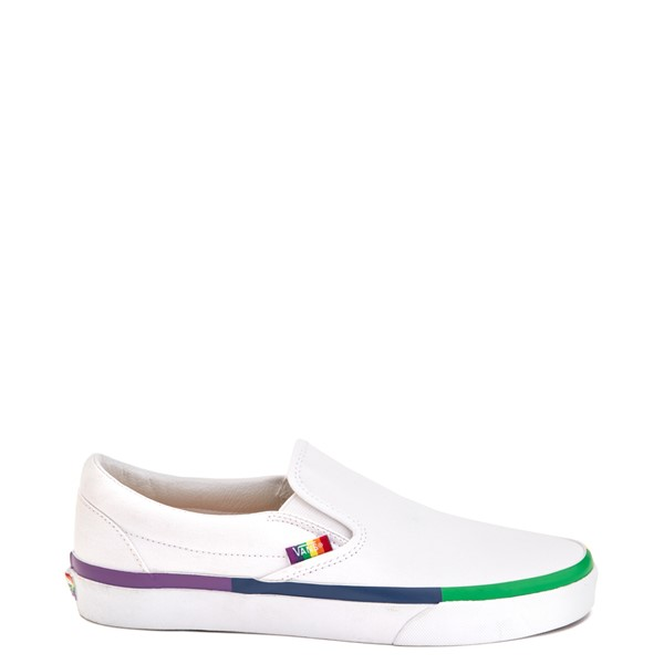 Main view of Vans Slip On Skate Shoe - White / Rainbow