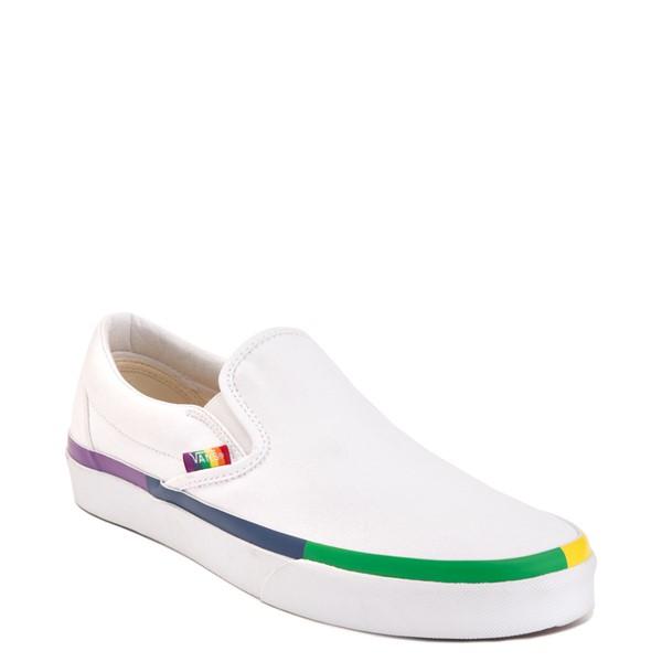 alternate image alternate view Vans Slip On Skate Shoe - White / RainbowALT5