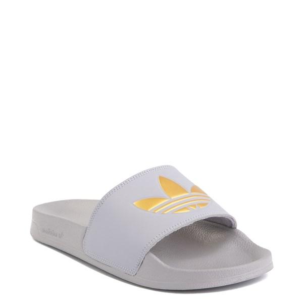 alternate image alternate view Womens adidas Adilette Lite Slide Sandal - Glory Grey / GoldALT1