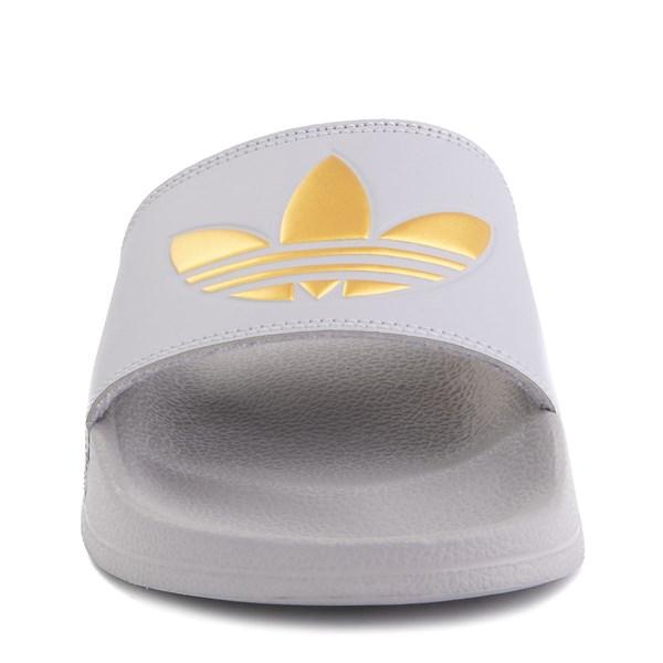alternate image alternate view Womens adidas Adilette Lite Slide Sandal - Glory Grey / GoldALT4