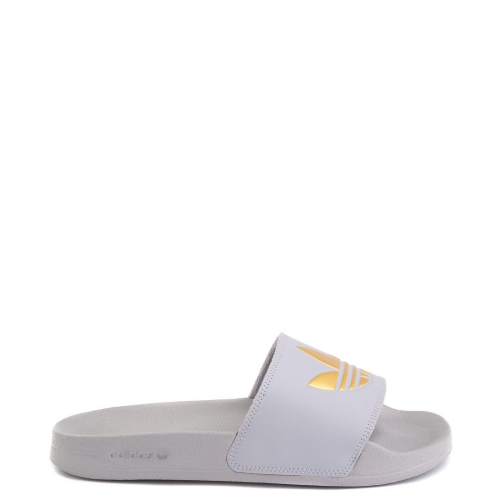 Womens adidas Adilette Lite Slide Sandal - Glory Grey / Gold