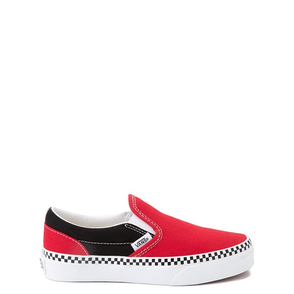 Main view of Vans Slip On Checkerboard Skate Shoe - Little Kid - Red / Black
