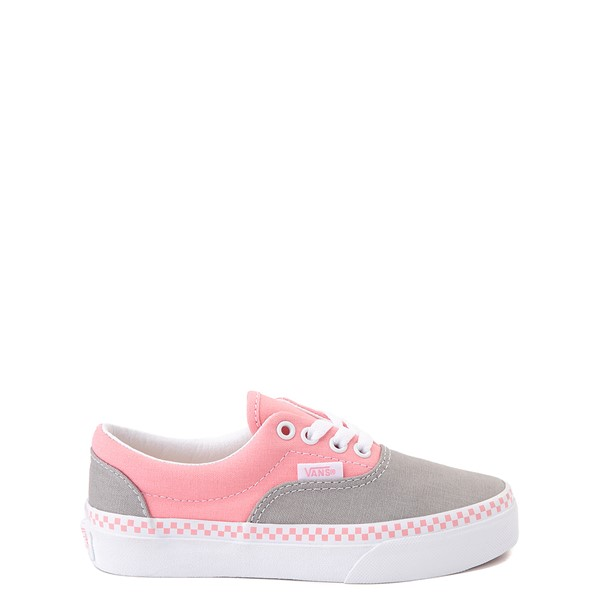Main view of Vans Era Checkerboard Skate Shoe - Little Kid - Drizzle Grey / Pink