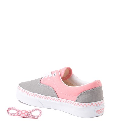 Alternate view of Vans Era Checkerboard Skate Shoe - Little Kid - Drizzle Grey / Pink