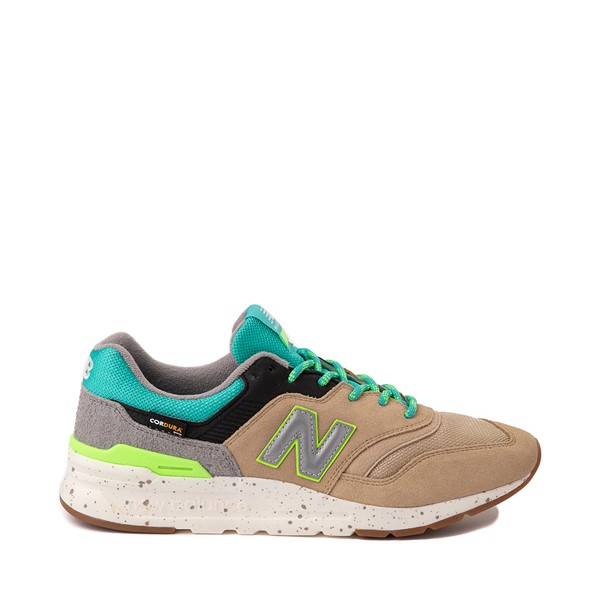 Main view of Mens New Balance 997H Athletic Shoe - Tan / Blue / lime