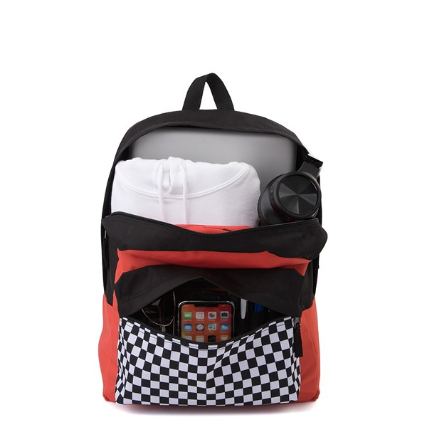 alternate image alternate view Vans Color-Block Checkerboard Realm Backpack - Paprika / Black / WhiteALT1
