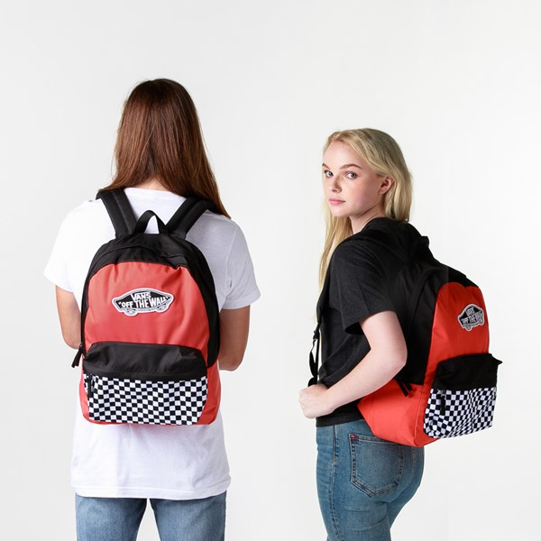 alternate image alternate view Vans Color-Block Checkerboard Realm Backpack - Paprika / Black / WhiteALT1BADULT