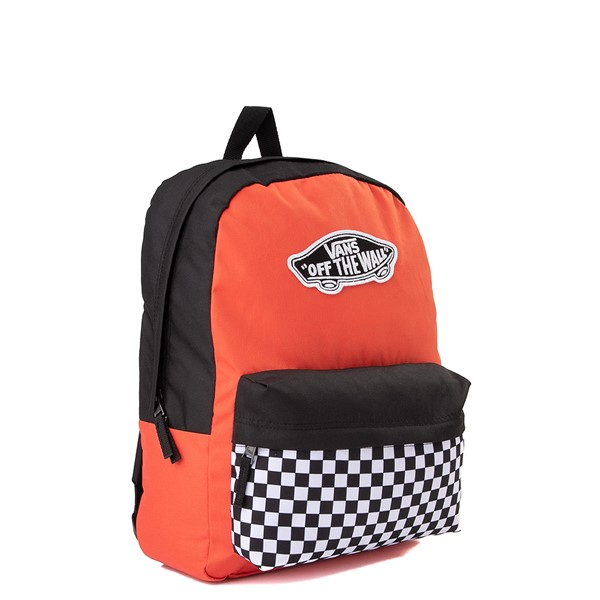 alternate image alternate view Vans Color-Block Checkerboard Realm Backpack - Paprika / Black / WhiteALT4B