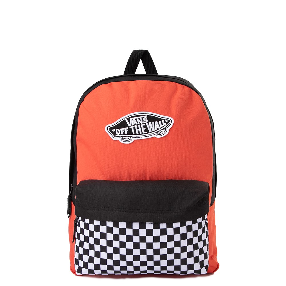 Vans Color-Block Checkerboard Realm Backpack - Paprika / Black / White