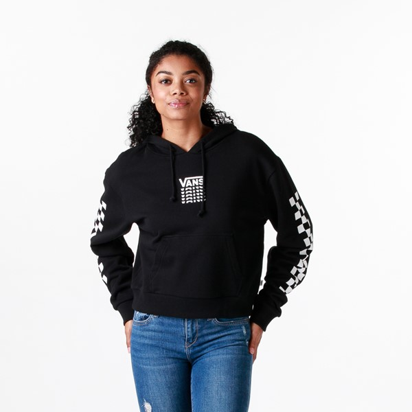 Womens Vans Word Check Cropped Hoodie - Black