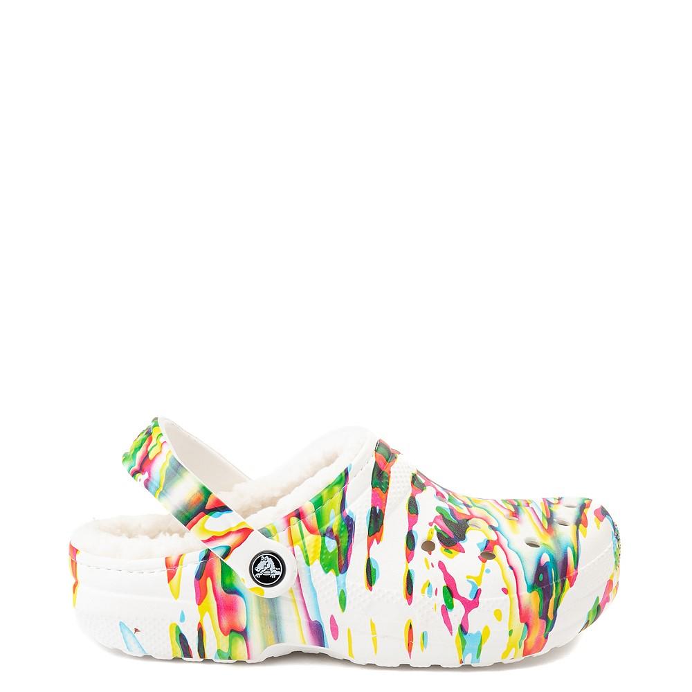 Crocs Classic Fuzz-Lined Clog - White / Splatter