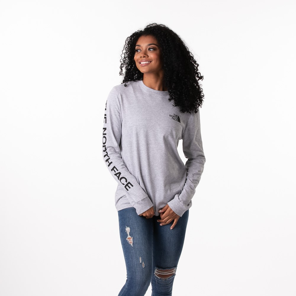 Womens The North Face Brand Proud Long Sleeve Tee - Grey