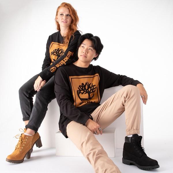 Main view of Mens Timberland Stacked Logo Long Sleeve Tee - Black