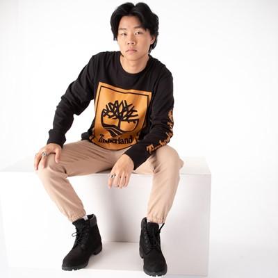 Alternate view of Mens Timberland Stacked Logo Long Sleeve Tee - Black