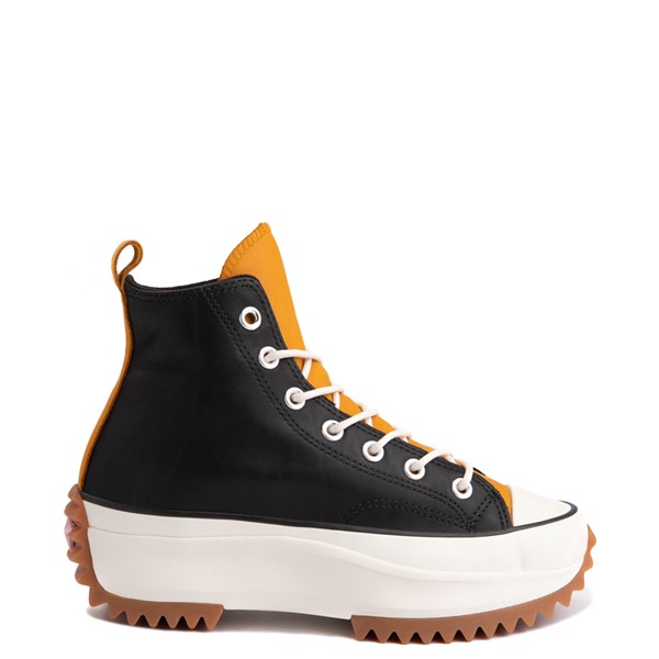 Main view of Womens Converse Run Star Hike Leather Platform Sneaker - Black / Saffron