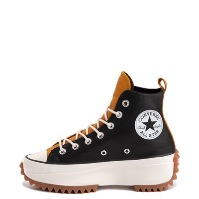 Alternate view of Womens Converse Run Star Hike Leather Platform Sneaker - Black / Saffron