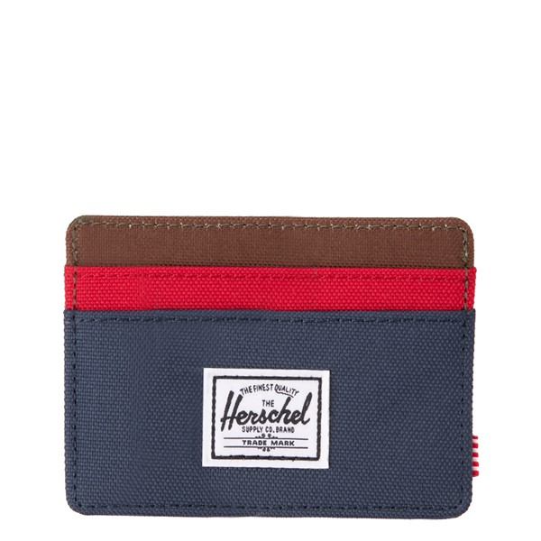 Main view of Herschel Supply Co. Charlie Wallet - Navy / Red / Woodland Camo