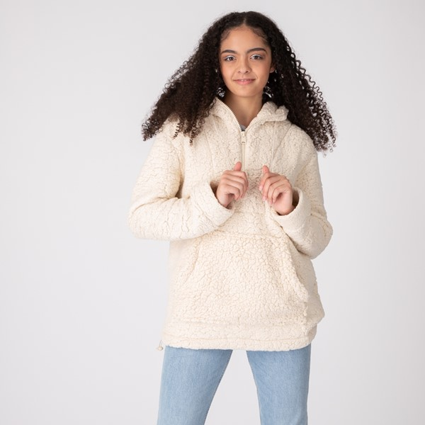 Main view of Womens Sherpa Pullover Hoodie - Natural