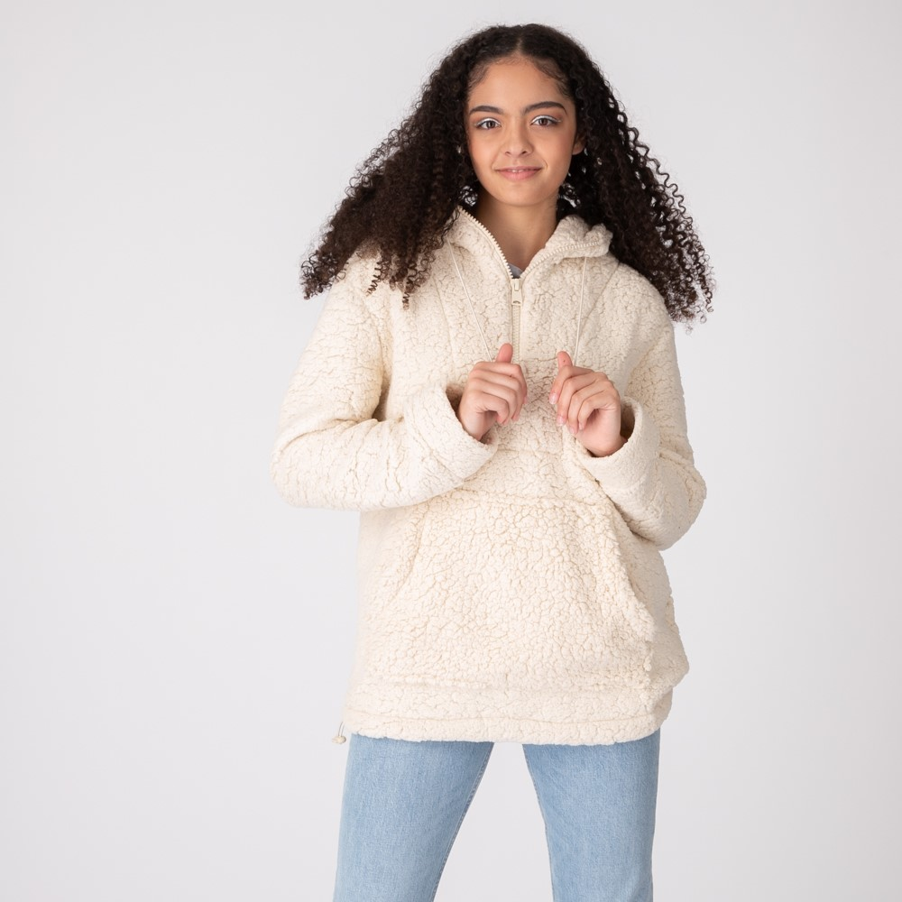 Womens Sherpa Pullover Hoodie - Natural