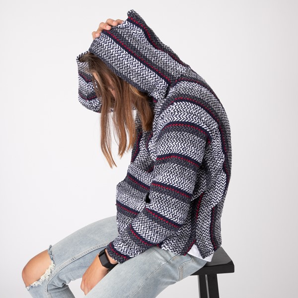 alternate image alternate view Mens Baja Poncho - Black / GreyALT3