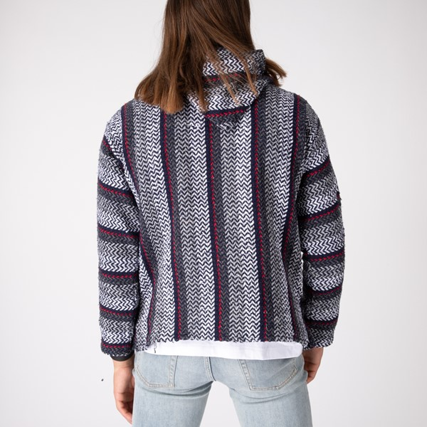 alternate image alternate view Mens Baja Poncho - Black / GreyALT4