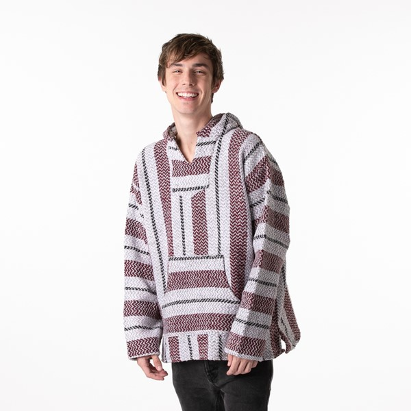 Mens Baja Poncho - Burgundy / Grey